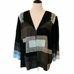 Ming Wang Cardigan Sweater Black Color Block XL